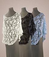 Crochet Lace Poncho - Off-White