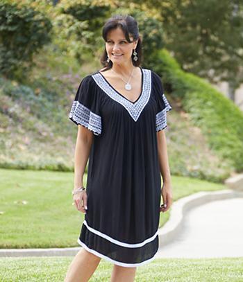 Embroidered V-Neck Dress