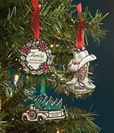 Pewter-Look Ornament - Truck with Tree