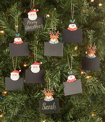 Blackboard-Style Ornaments - Set of 9