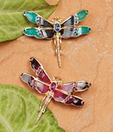 Sarah Coventry Dragonfly Pin - Blue and Green