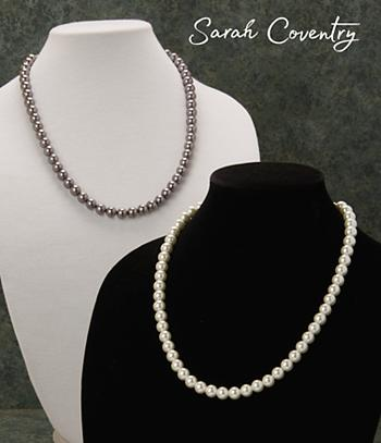 Sarah Coventry Glass Pearl Necklace - White