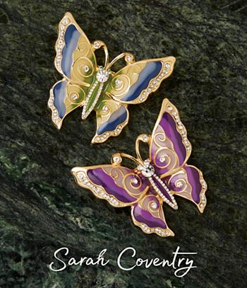 Sarah Coventry Butterfly Pin - Blue and Green
