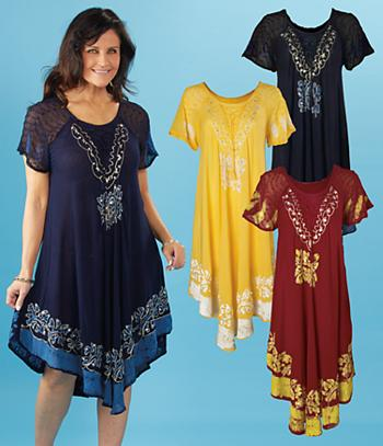Umbrella Dress with Embroidered Sleeves - Yellow