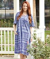 Crinkle Cotton Patio Dress - Missy
