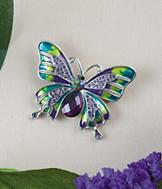 Sarah Coventry Butterfly Pin with Painted Iridescent Wings