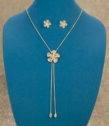 Crystal-Studded Lariat Flower Necklace