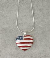 American Flag Heart Pendant