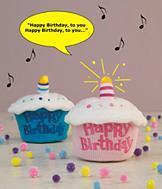 Happy Birthday Musical Cupcake - Blue