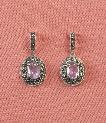 Amethyst and Marcasite Earrings