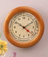 Pine-Framed Day Clock
