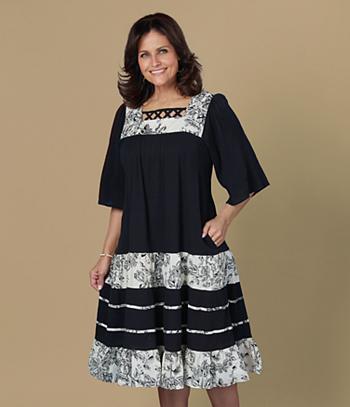 Square Neck Crinkle Dress - Missy