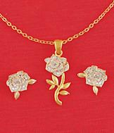 Diamond Chip Rose Pendant
