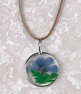Pressed Flower Pendant with Silvertone Frame