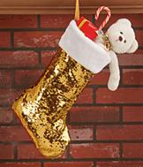 Goldtone Sequins Stocking