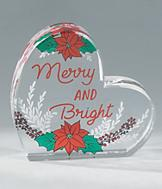 Merry And Bright Heart Plaque