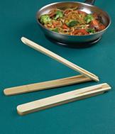 Flat-Folding Bamboo Tongs