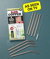 Red Copper Straws - Set of 8