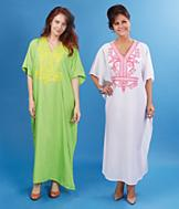 Embroidered Caftan - White and Pink