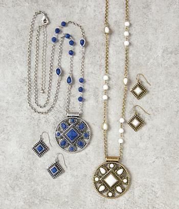 Medallion Jewelry Set - Blue