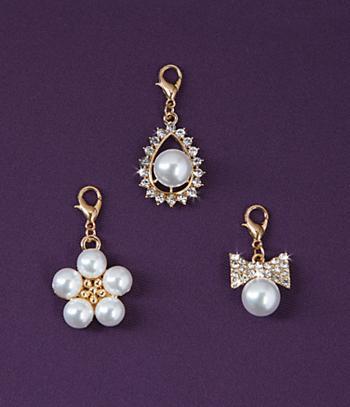 Pearl-Look Zipper Pulls - Set of 3