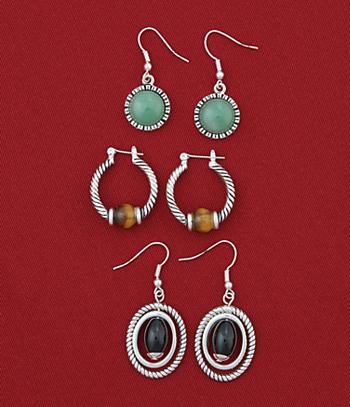 Gemstone Earring Set - 3 Pairs