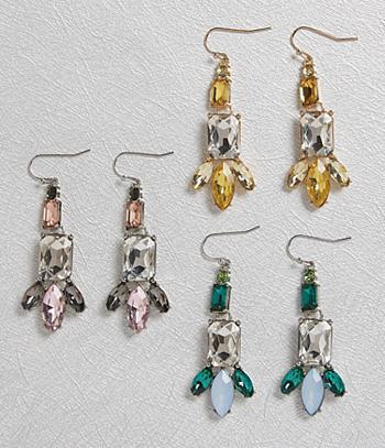 Crystal Earrings - 3 Pairs