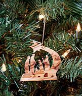 Olive Wood Nativity Ornament