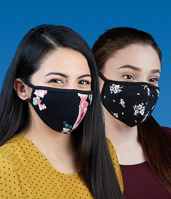 Face Mask - Black and White Floral