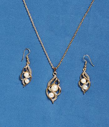 Pearl and Crystal Pierced Earrings