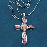 Pink Stone Cross Necklace
