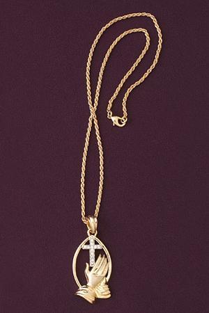 Praying Hands Goldtone Necklace