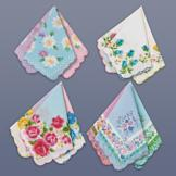 Floral Design Handkerchiefs - Set of 12