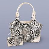 Animal-Skin Print Handbag with Cross Accent