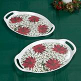 Melamine Poinsettia Trays - Set of 2