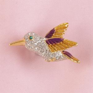 3D Jeweled Hummingbird Pin