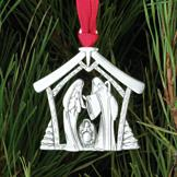 Solid Pewter Nativity Ornament