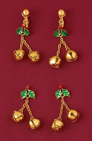 Holly and Goldtone Bells Christmas Earrings