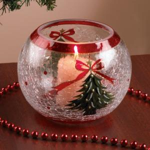 Dual Christmas Tree Crackle Glass Candleholder