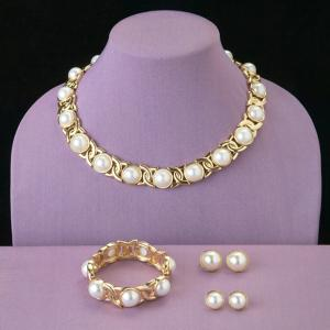 Simulated Pearl Collar Necklace
