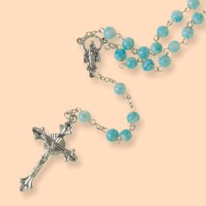Mother Mary Rosary with Blue and White Beads