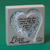 Illuminated Heart Plaque with 1 Corinthians Verse