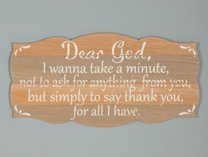 Dear God Gratitude Plaque