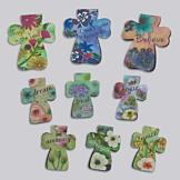Cross-Shaped Magnetic Bookmarks - Set of 10