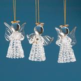Glass Angel Ornament Trio
