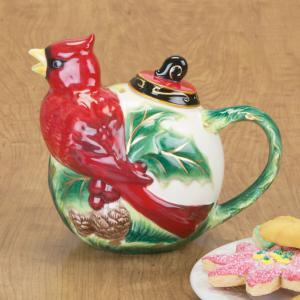Christmas Cardinal Teapot
