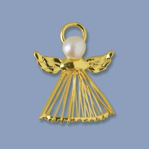 Goldtone Angel Pin with Cultured Pearl