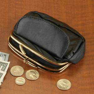 Black Leather Coin Purse with Goldtone Detailing