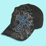 Cap with Rhinestone Cross