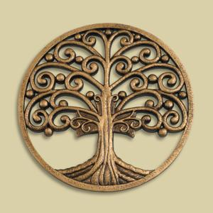 Tree of Life Antiqued Goldtone Plaque